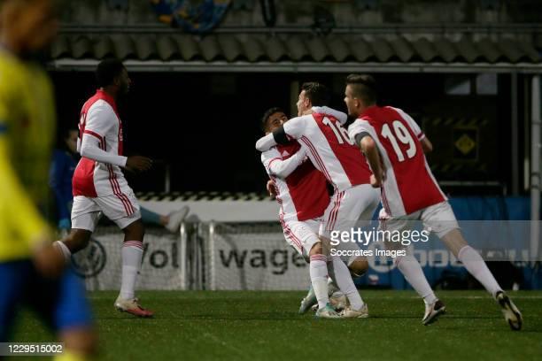 Enric Llansana of Ajax U23 celebrates 2-3 with Naci Unuvar of Ajax U23 during the Dutch Keuken Kampioen Divisie match between SC Cambuur v Ajax U23...