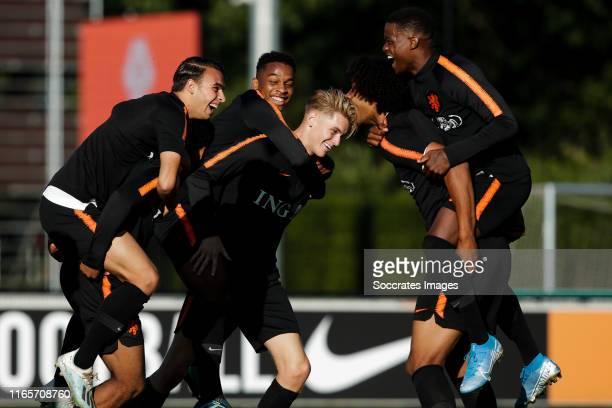 Enric Llansana of Holland U19, Jurrien Timber of Holland U19 Ramon Hendriks of Holland U19, Joshua Zirkzee of Holland U19, Daishawn Redan of Holland...