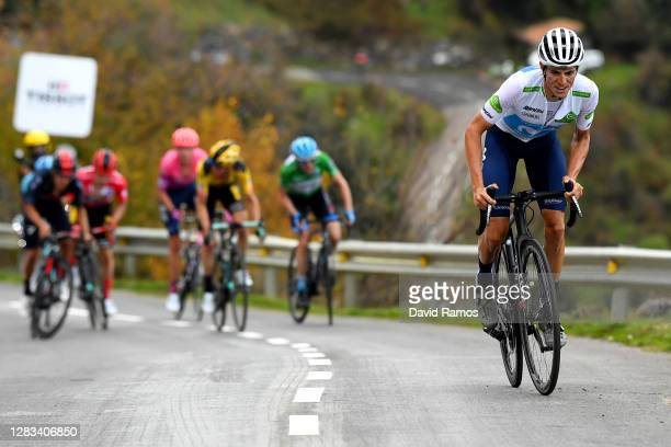 Enric Mas Nicolau of Spain and Movistar Team White Best Young Jersey / Daniel Martin of Ireland and Team Israel Start-Up Nation Green Points Jersey /...