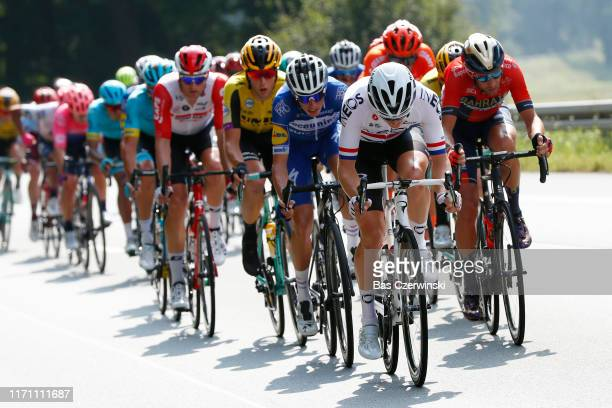 Enric Mas of Spain and Team Deceuninck QuickStep / Ben Swift of United Kingdom and Team INEOS / Vincenzo Nibali of Italy and Team Bahrain Merida /...