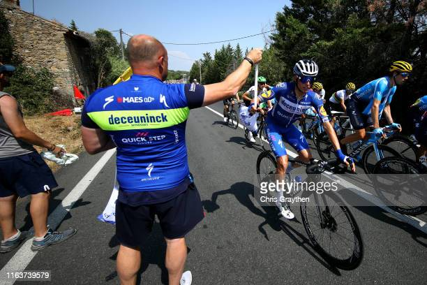 Enric Mas of Spain and Team Deceuninck - Quick-Step / Imanol Erviti of Spain and Movistar Team / Soigneur / Feed Zone / during the 106th Tour de...