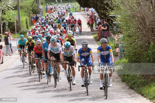 Enric Mas of Spain and Team QuickStep Floors / Julian Alaphilippe of France and Team QuickStep Floors / Michal Kwiatkowski of Poland and Team Sky /...