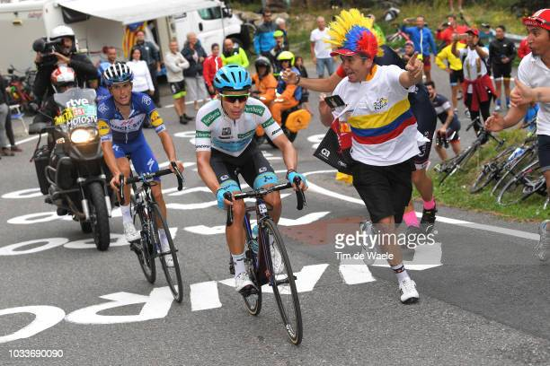 Enric Mas of Spain and Team Quick-Step Floors / Miguel Angel Lopez of Colombia and Astana Pro Team White Combined Jersey / Fans / Public / during the...