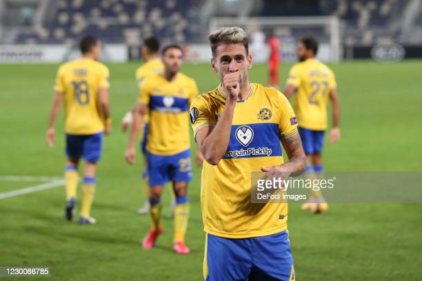 Enric Saborit of Maccabi Tel Aviv celebrates after scoring his team's first goal during the UEFA Europa League Group I stage match between Maccabi...