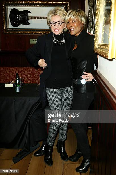 Enrica Bonaccorti and Amii Stewart attend the presentation of 'Il Salvatori 2016' song dictionary at Hard Rock Cafe on December 9 2015 in Rome Italy