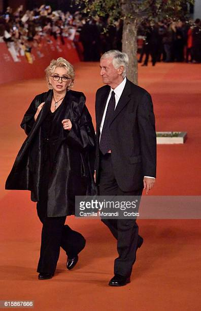 Enrica Bonaccorti and Piero Badaloni walk a red carpet for 'Florence Foster Jenkins' during the 11th Rome Film Festival on October 20 2016 in Rome...