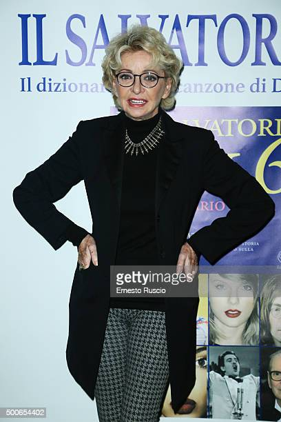 Enrica Bonaccorti attends the presentation of 'Il Salvatori 2016' song dictionary at Hard Rock Cafe on December 9 2015 in Rome Italy