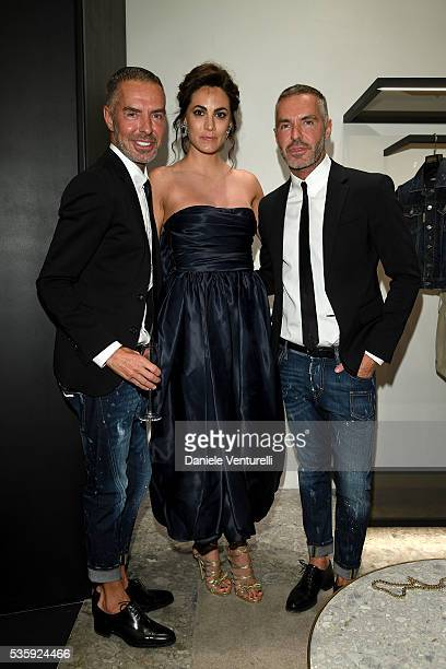 Enrica Guidi Dean and Dan Caten attend Dsquared2 instore cocktail on May 30 2016 in Rome Italy