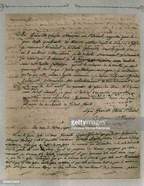 Enrichetta Blondel first wife of Alessandro Manzoni her act of abjuration from Calvinism written on 3 May The ceremony that admitted officially...