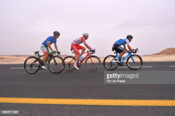 Enrico Barbin of Italy and Team Bardiani CSF Blue Mountain Jersey / Marco Frapporti of Italy and Team Androni Giocattoli-Sidermec / Guillaume Boivin...