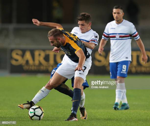 Enrico Bearzotti of Hellas Verona competes for the ball with Lucas Torreira of UC Sampdoria during the Serie A match between Hellas Verona FC and UC...