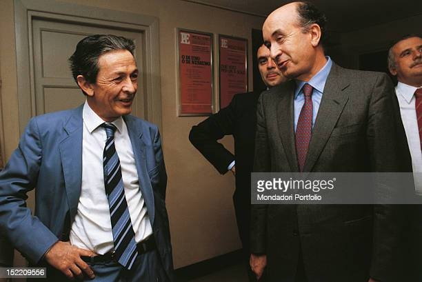 Enrico Berlinguer general secretary of the Italian Communist Party from 1972 to 1984 and Ciriaco De Mita national secretary of the Christian...