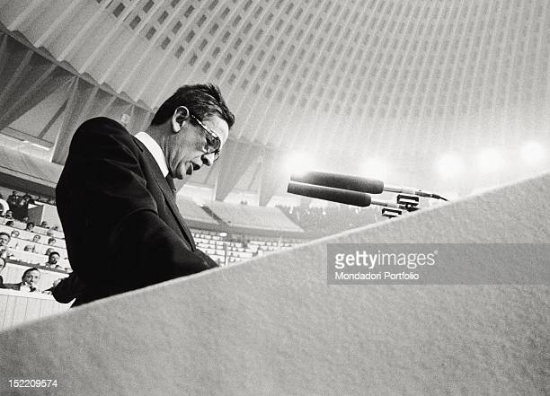 Enrico Berlinguer general secretary of the Italian Communist Party from 1972 until 1984 during the XIV Congress of the Italian Communist Party at...