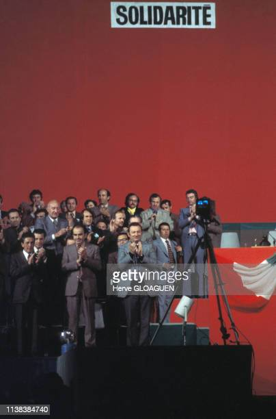 Enrico Berlinguer Georges Marchais et Paul Laurent lors d'un meeting entre les partis communistes français et italien en France
