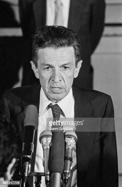 Enrico Berlinguer secrétaire du parti communiste italien lors d'une conférence de presse à Rome le 9 aout 1982 Italie