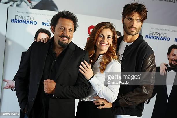 Enrico Brignano Vanessa Incontrada and Giulio Berruti attend a photocall for 'Tutte Lo Vogliono' on September 16 2015 in Rome Italy