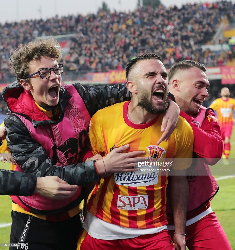 Enrico Brignola of Benevento Calcio celebrates after scoring the 3-1 goal during the serie A match between Benevento Calcio and UC Sampdoria at Stadio Ciro Vigorito on January 6, 2018 in Benevento, Italy.