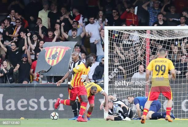 Enrico Brignola Sandro and Bacary Sagna of Benevento Calcio celebrate the 33 goal scored by Bacary Sagna during the serie A match between Benevento...