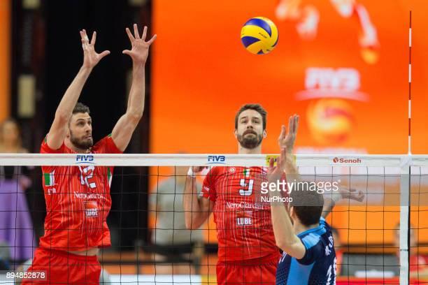 Enrico Cester Jiri Kovar Maxim Mikhaylov during FIVB Volleyball Men's Club World Championship 1st place match between italian Lube Civitanova and...