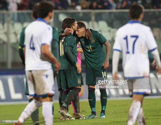 Enrico Del Prato of Italy celbrates the 6th goal during the UEFA U21 European Championship Qualifier match between Italy and Armenia at Stadio Angelo...