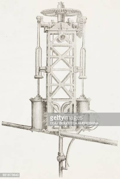 Enrico Forlanini's twocylinder steam engine with steering mechanism engraving from L'Illustrazione Italiana Year 5 No 30 July 28 1878