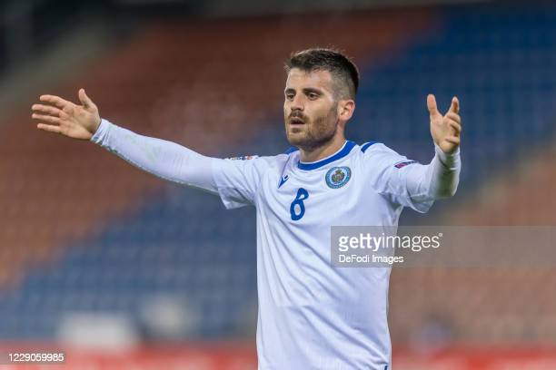 Enrico Golinucci of San Marino gestures during the UEFA Nations League group stage match between Liechtenstein and San Marino at Rheinpark Stadion on...