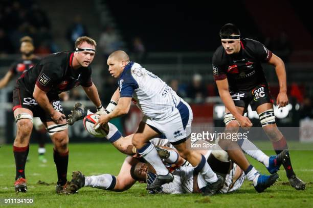 Enrico Januarie of Agen and Hendrik Lambertus Roodt of Lyon during the Top 14 match between Lyon and Agen at Gerland Stadium on January 27 2018 in...
