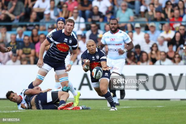 Enrico Januarie of Agen during the Top 14 match between Agen v Racing 92 on September 2 2017 in Agen France