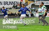 Enrico Kern of Rostock scores the first goal during the Second Bundesliga match between Spvgg Greuther Furth and Energie Cottbus at the Playmobil...