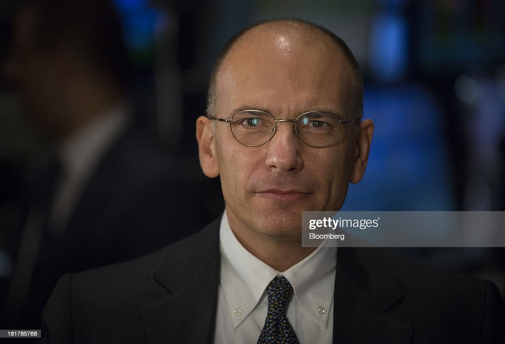 Enrico Letta, Italy's prime minister, pauses during an interview at the New York Stock Exchange (NYSE) in New York, U.S., on Wednesday, Sept. 25, 2013. Italian consumer confidence increased more than economists forecast in September to the highest in two years amid optimism that the economy is emerging from recession. Photographer: Scott Eells/Bloomberg via Getty Images