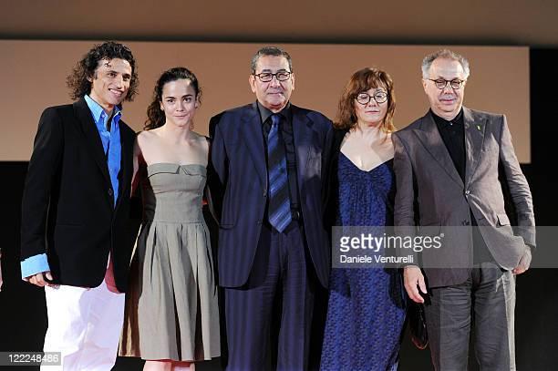 Enrico Lo Verso, Alice Braga, Samir Farid, Isabel Coixet and Dieter Kosslick attend the Taormina Arte Award during the Taormina Film Fest 2010 on...
