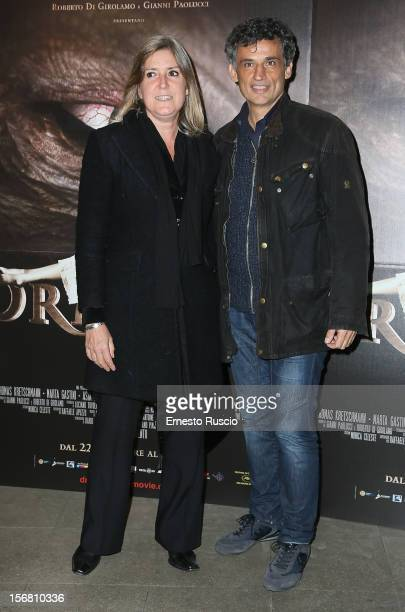 Enrico Lo Verso and his wife Elena attend the 'Dracula in 3D' premiere at Cinema Barberini on November 21 2012 in Rome Italy