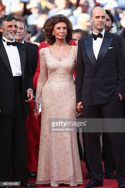 Enrico Lo Verso Sophia Loren and son director Edoardo Ponti attend the Voce Umana premiere during the 67th Annual Cannes Film Festival on May 20 2014...
