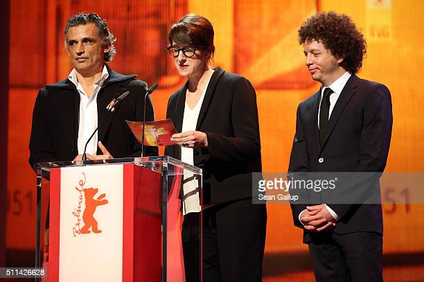 Enrico Lo Verso Ursula Meier and Michel Franco present the Best First Feature Award during the closing ceremony of the 66th Berlinale International...