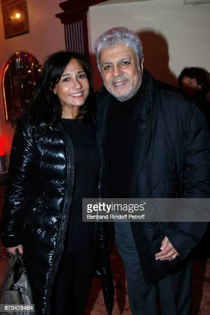 Enrico Macias and his daughter Jocya Ghrenassia attend Depardieu Chante Barbara at Le Cirque D'Hiver on November 11 2017 in Paris France