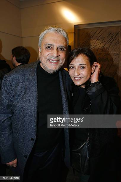 Enrico Macias and his daughter Jocya Ghrenassia attend the Laurent Gerra One Man Show at L'Olympia on December 19 2015 in Paris France