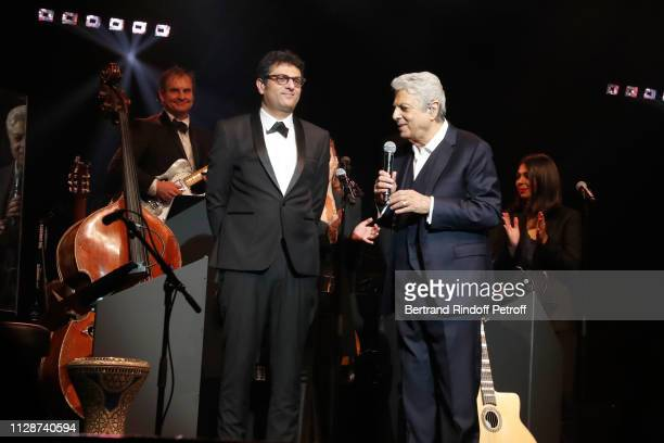 Enrico Macias and his son Jean-Claude Ghrenassia perform for Enrico Macias 80th Anniversary at L'Olympia on February 10, 2019 in Paris, France.