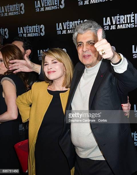 Enrico Macias and Nicole Calfan attend the premiere of La Verite Si Je Mens 3 at Le Grand Rex, in Paris