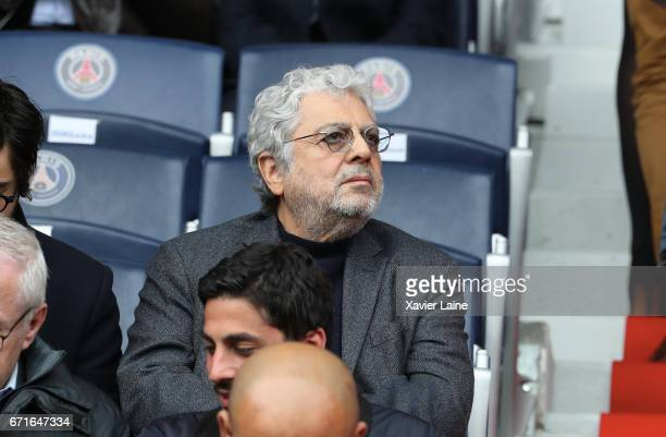 Enrico Macias attends the French Ligue 1 match between Paris Saint Germain and Montpellier Herault SC at Parc des Princes on April 22 2017 in Paris...