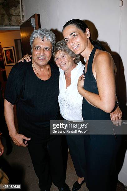 Enrico Macias President of Ramatuelle Festival Jacqueline Franjou and daughter of Charley Marouani Rachel Marouani pose after the concert of singer...