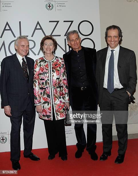 Enrico Marinelli Letizia Moratti Massimiliano Finazzer Flory and Giovanni Terzi attend the opening of new exhibition space at Palazzo Morimondo...