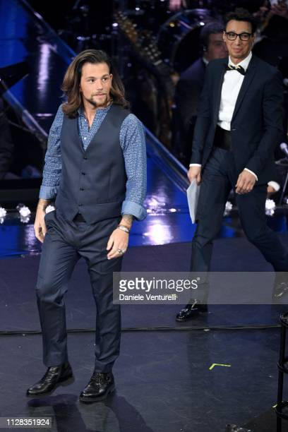 Enrico Nigiotti and Paolo Jannacci on stage during the fourth night of the 69th Sanremo Music Festival at Teatro Ariston on February 08 2019 in...