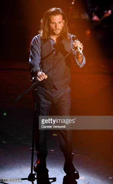 Enrico Nigiotti on stage during the fourth night of the 69th Sanremo Music Festival at Teatro Ariston on February 08 2019 in Sanremo Italy