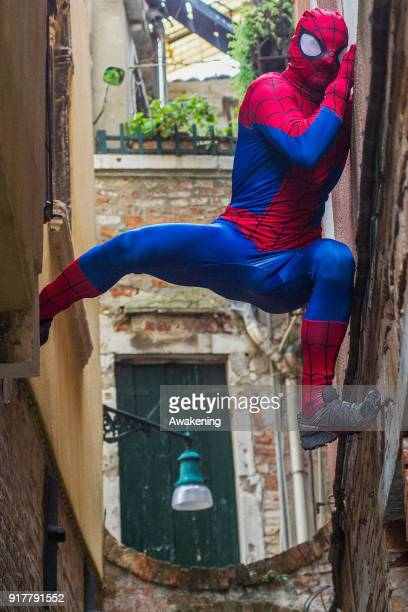 Enrico Paganin wears a carnival Spiderman costume on February 13 2018 in Venice Italy The theme for the 2018 edition of Venice Carnival is 'Playing'...