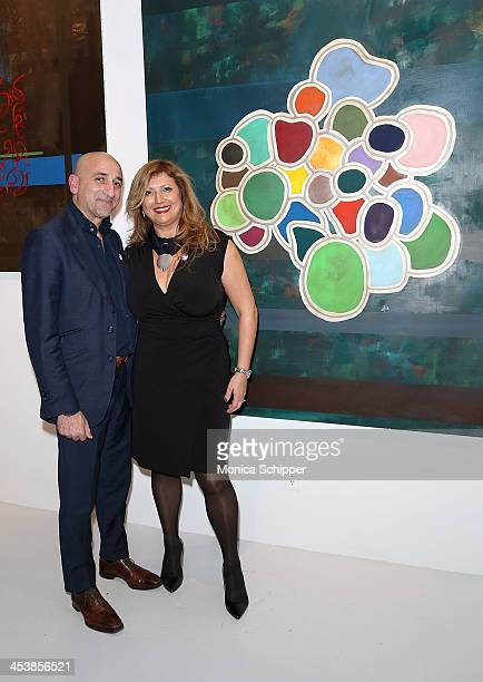 Enrico Pedico and Chairman and Creative director CLEN GALLERY Clelia Zolli attend 'love art give a smile' Art Fashion And Design Benefit at Clen...