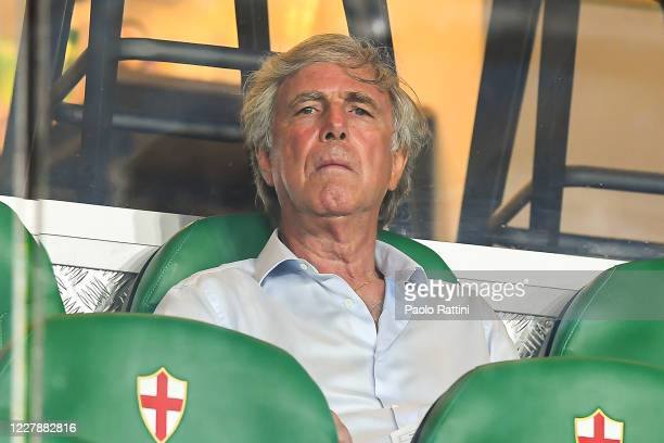 Enrico Preziosi chairman of Genoa before the Serie A match between Genoa CFC and Hellas Verona at Stadio Luigi Ferraris on August 2, 2020 in Genoa,...