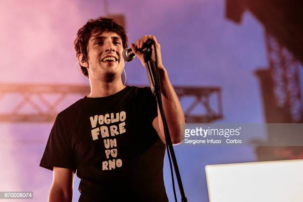 Alberto Cazzola of Lo Stato Sociale performs on stage at Carroponte on June 8 2018 in Milan Italy