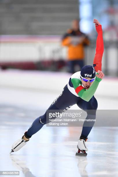 Enrico Salino of Italy performs during the Men 500 Meter at the ISU Junior World Cup Speed Skating at Max Aicher Arena on November 26 2017 in Inzell...
