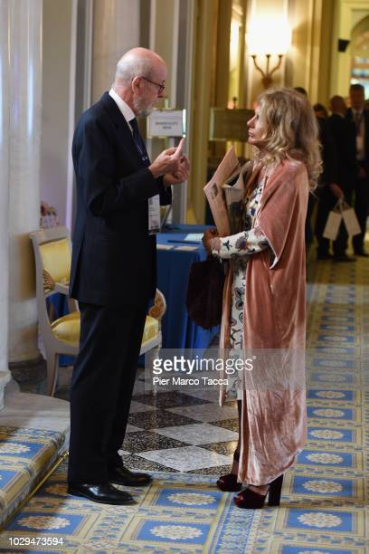 Enrico Tommaso Cucchiani speaks with President of ENI Emma Marcegaglia during the Ambrosetti International Economic Forum 2018 on September 7 2018 in...