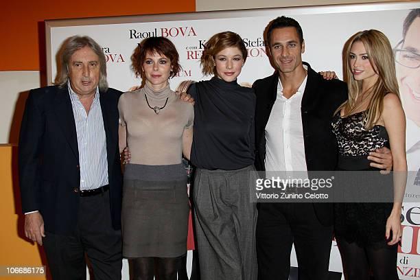 Enrico Vanzina Barbara Bobulova Sarah Felberbaum Raoul Bova Martina Stella attend the 'Ti Presento Un Amico' Milan Premiere held at Cinema Apollo on...